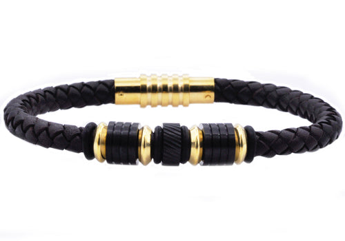 Mens Black Leather Gold Stainless Steel Bracelet - Blackjack Jewelry