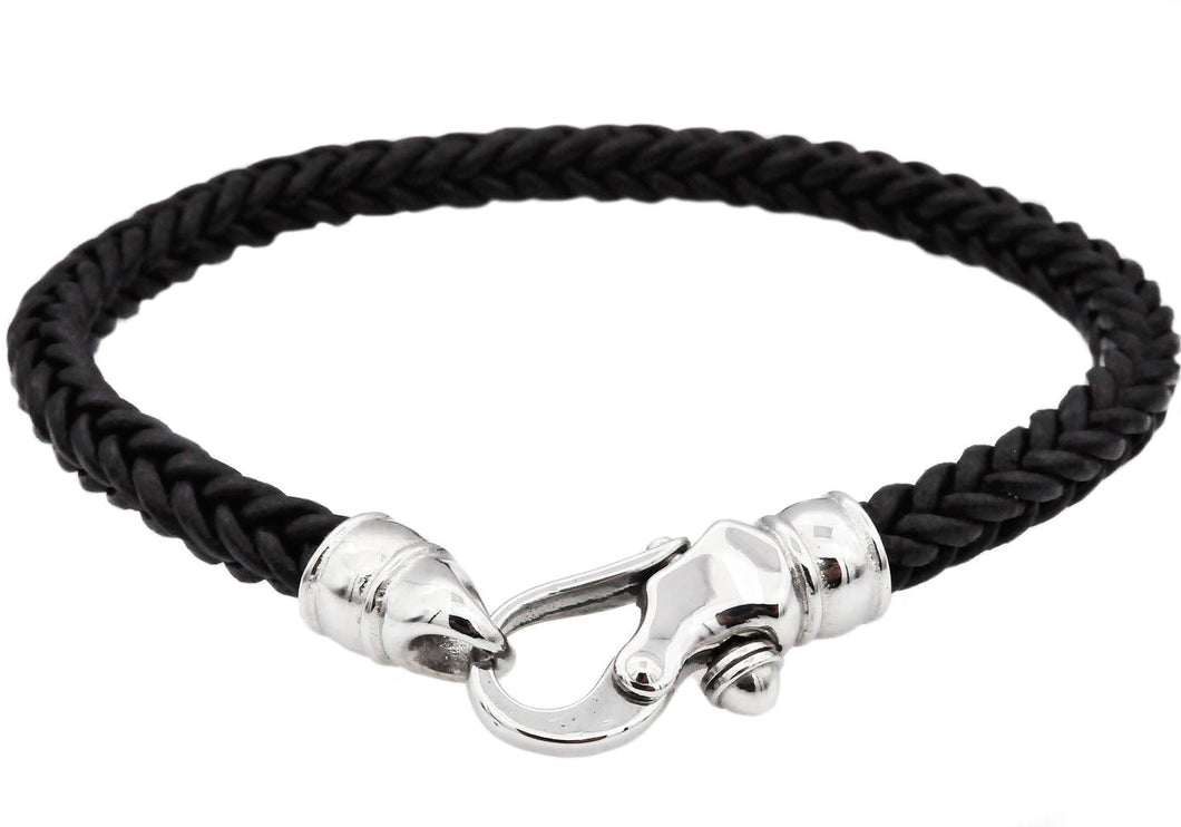 Mens Black Leather Stainless Steel Bracelet - Blackjack Jewelry