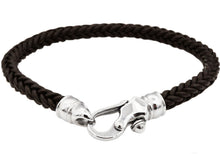 Load image into Gallery viewer, Mens Brown Leather Stainless Steel Bracelet - Blackjack Jewelry