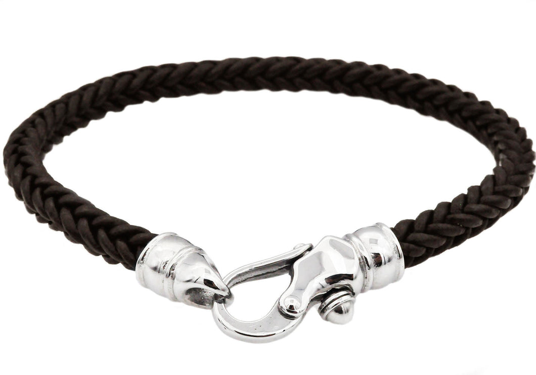 Mens Brown Leather Stainless Steel Bracelet - Blackjack Jewelry