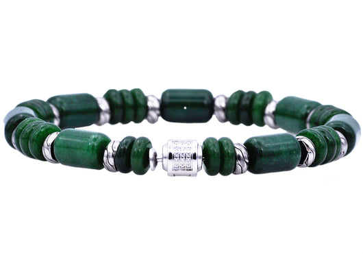 Mens Genuine Canadian Jade Stainless Steel Beaded Bracelet With Cubic Zirconia