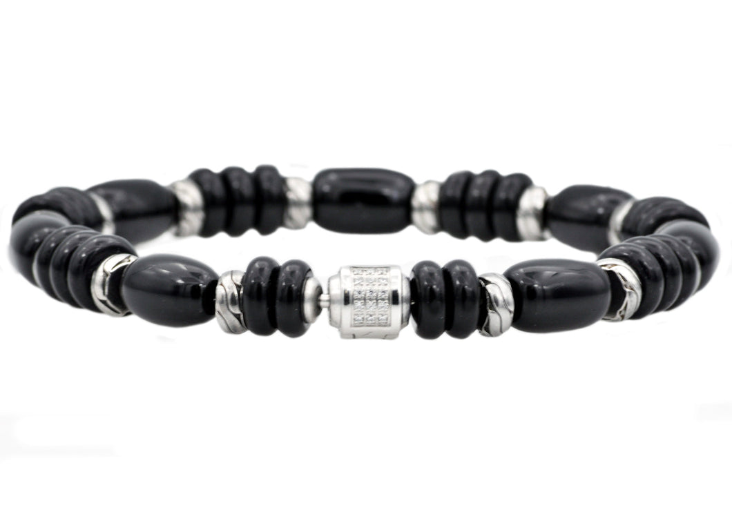Mens Genuine Onyx Stainless Steel Beaded Bracelet With Cubic Zirconia - Blackjack Jewelry