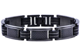 Mens Black Rubber And Black Plated Stainless Steel Braceclet With Carbon Fiber