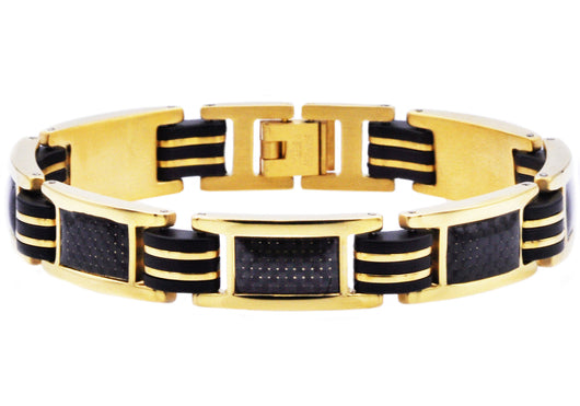 Mens Black Rubber And Gold Plated Stainless Steel Braceclet With Carbon Fiber