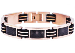 Mens Black Rubber And Rose Plated Stainless Steel Braceclet With Carbon Fiber