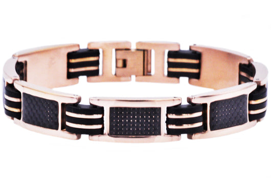 Mens Black Rubber And Rose Plated Stainless Steel Braceclet With Carbon Fiber - Blackjack Jewelry