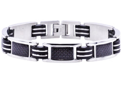 Mens Black Rubber And Stainless Steel Braceclet With Carbon Fiber