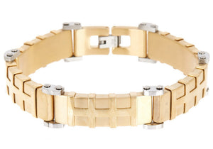 Mens Gold Plated Stainless Steel Bracelet - Blackjack Jewelry