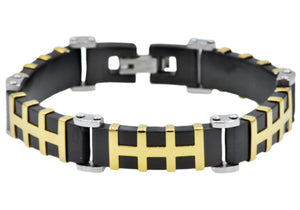 Mens Black And Gold Stainless Steel Bracelet - Blackjack Jewelry
