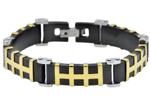 Mens Black And Gold Plated Stainless Steel Bracelet - Blackjack Jewelry