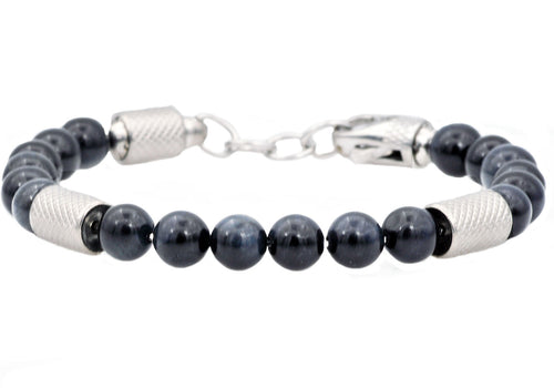 Mens Genuine Blue Tiger Eye Stainless Steel Beaded Bracelet - Blackjack Jewelry