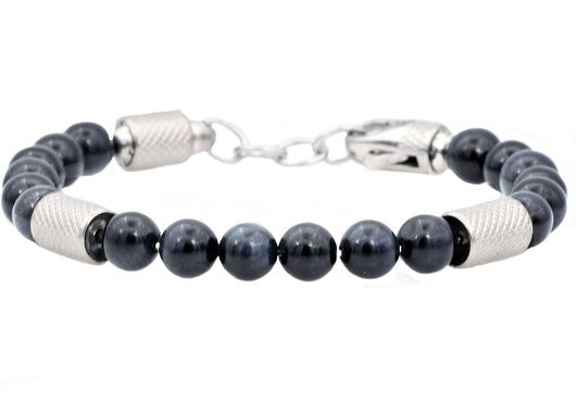 Mens Genuine Blue Tiger Eye Stainless Steel Beaded Bracelet