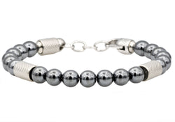 Mens Genuine Hematite Stainless Steel Beaded Bracelet