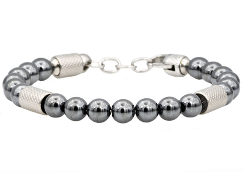 Mens Genuine Hematite Stainless Steel Beaded Bracelet - Blackjack Jewelry