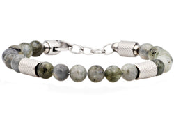 Mens Genuine Labradorite Stainless Steel Beaded Bracelet