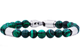 Mens Genuine Malachite Stainless Steel Beaded Bracelet - Blackjack Jewelry