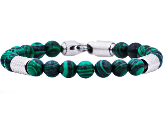 Mens Genuine Malachite Stainless Steel Beaded Bracelet