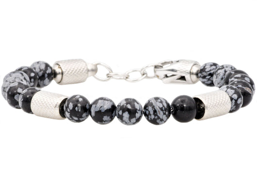 Mens Genuine Obsidian Stainless Steel Beaded Bracelet