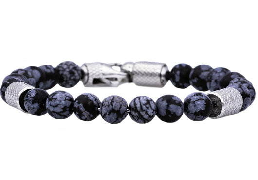 Mens Genuine Obsidian Stainless Steel Beaded Bracelet With Cubic Zirconia
