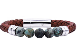 Mens Genuine African Turqoise And Brown Leather Stainless Steel Beaded Bracelet