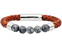 Load image into Gallery viewer, Mens Genuine Gray Jasper And Brown Leather Stainless Steel Beaded Bracelet - Blackjack Jewelry