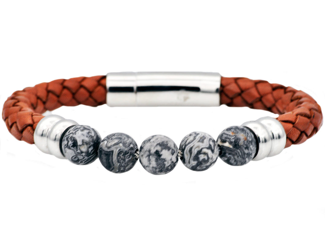 Mens Genuine Gray Jasper And Brown Leather Stainless Steel Beaded Bracelet - Blackjack Jewelry