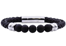 Load image into Gallery viewer, Mens Genuine Onyx And Black Leather Stainless Steel Beaded Bracelet - Blackjack Jewelry