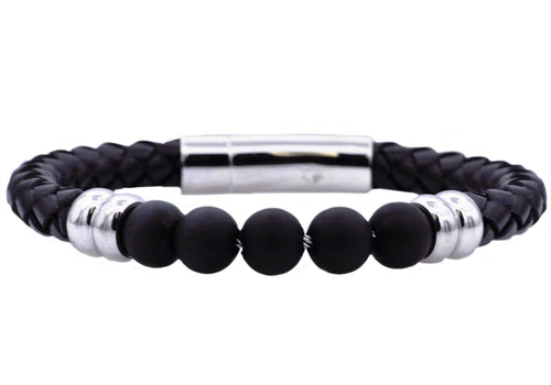 Mens Genuine Onyx And Black Leather Stainless Steel Beaded Bracelet - Blackjack Jewelry