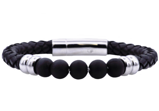 Mens Genuine Onyx And Black Leather Stainless Steel Beaded Bracelet