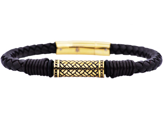 Mens Black Leather Gold Plated Stainless Steel Bracelet