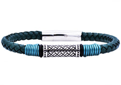 Mens Green Leather Stainless Steel Bracelet