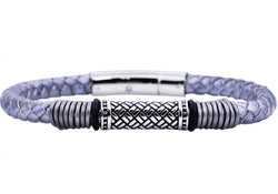 Mens Gray Leather Stainless Steel Bracelet