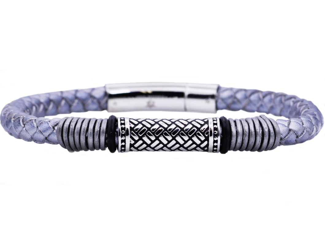 Mens Gray Leather Stainless Steel Bracelet - Blackjack Jewelry