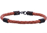 Mens Brown Leather Black Plated Stainless Steel Bracelet