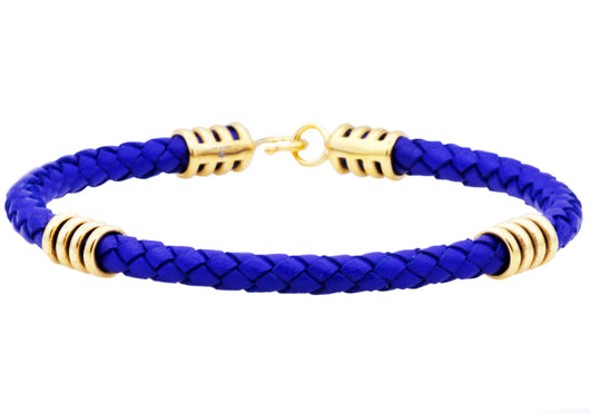 Mens Blue Leather Gold Plated Stainless Steel Bracelet