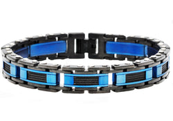 Mens Blue And Black Plated Stainless Steel Link Wire Bracelet