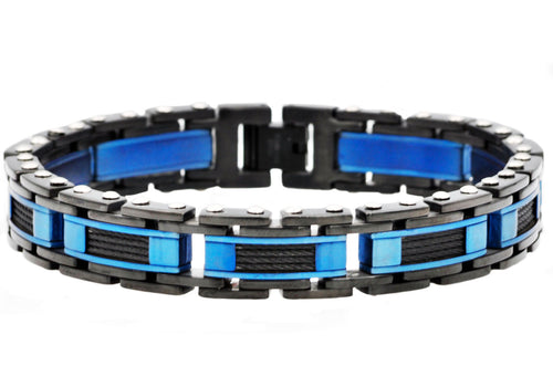 Mens Black And Blue Stainless Steel Bracelet With Black Plated Cables - Blackjack Jewelry