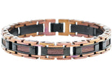 Mens Chocolate And Black Plated Stainless Steel Link Wire Bracelet