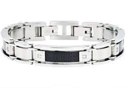 Mens Carbon Fiber Stainless Steel Bracelet With Cubic Zirconia