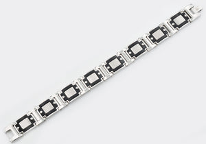 Mens Wide Stainless Steel Bracelet With Black - Blackjack Jewelry
