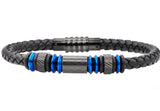 Mens Black Leather Blue Plated Stainless Steel Bracelet With Carbon Fiber