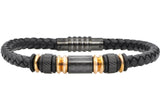 Mens Black Leather Rose Plated Stainless Steel Bracelet With Carbon Fiber