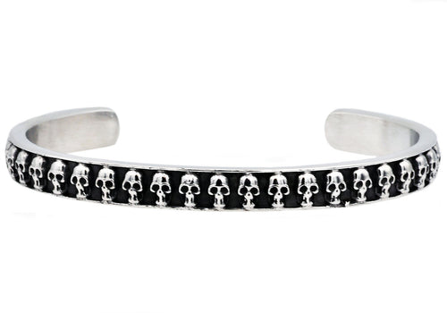 Mens Black Plated Stainless Steel Skull Bangle - Blackjack Jewelry