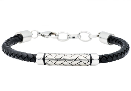 Mens Black Leather Stainless Steel Bracelet
