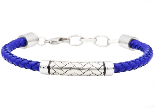 Mens Blue Leather Stainless Steel Bracelet