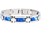 Mens Genuine Blue Lace Agate Stainless Steel Bracelet