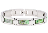 Mens Genuine Green Lace Agate Stainless Steel Bracelet