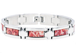 Mens Genuine Red Lace Agate Stainless Steel Bracelet
