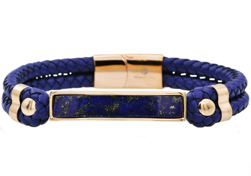 Mens Genuine Lapis Lazuli And Navy Leather Rose Gold Plated Stainless Steel Bracelet - Blackjack Jewelry