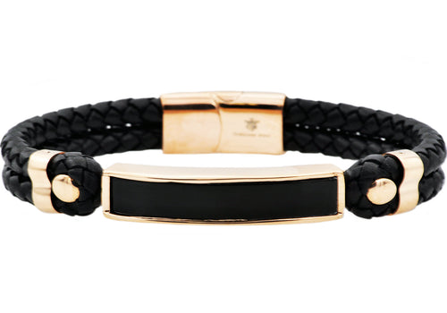 Mens Genuine Onyx And Black Leather Rose Gold Plated Stainless Steel Bracelet - Blackjack Jewelry